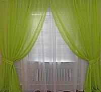 Комплект декоративных штор из шифона, цвет салатовый. 006дк две шторы по 3м.