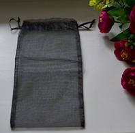 Подарочная упаковка из органзы, черная 11*26 см