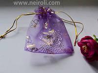 Подарочная упаковка из органзы, фиолетовая с золотом 11*9 см