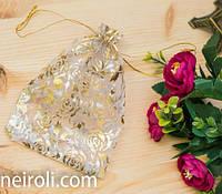 Подарочная упаковка из органзы, Золотая роза 11*17 см