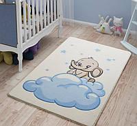 Коврик в детскую комнату 100х150  BABY ELEPHANT 01 ГОЛУБОЙ Confetti