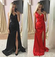 Платье атласное длинное с разрезом 84032\1