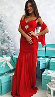Замечательное женское платье в пол на бретелях с шифоновой юбкой и шарфом трикотаж