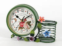 Часы настольные винтажные с подставкой для ручек