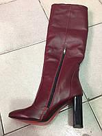 Демисезонные кожаные женские сапоги на каблуке марсала