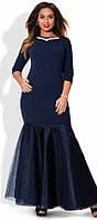 Красивое женское платье в пол прилегающего фасона с фатиновой юбкой годе и украшением креп дайвинг