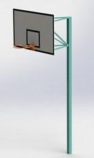 Баскетбольная стойка на одной опоре, стационарная, уличная, вынос фермы 400-600 мм