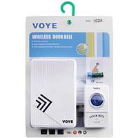 Дверной звонок на батарейках Voye V022A, кнопка + динамик, 38 мелодий, радиус до 100 м, пластик, крепеж