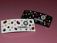 Заколка-автомат CHANEL,  широкая c камнями, 2 цвета, фото 1
