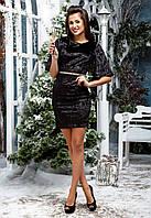 """Элегантное короткое вечернее платье 031 """"Бархат Мрамор Мини Пояс Стразы"""""""