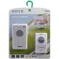 Дверной звонок беспроводной VOYE V002A, радиус действия 100 м, 38 мелодий, мощность 2 Вт, цвет белый