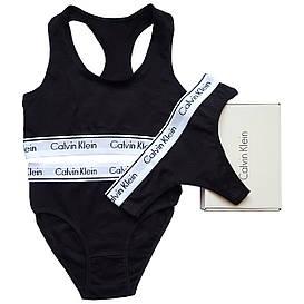 Женский комплект тройка с слипами Calvin Klein черный