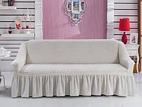 Чехол на диван трёхместный Burumcuk Кремовый