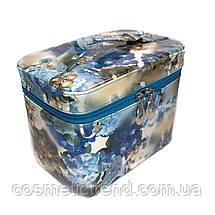 Шкатулка-бьютикейс для украшений и косметики с зеркалом Light blue/grey CR-110-MD (размер M 20*12,5*14 см), фото 2