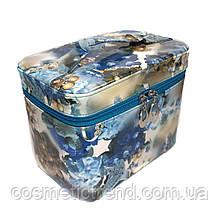 Шкатулка-бьютикейс для украшений и косметики с зеркалом Light blue/grey CR-110-MD (размер L 22,5*14,5*16,5см)