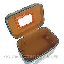 Шкатулка-бьютикейс для украшений и косметики с зеркалом Light blue/grey CR-110-MD (размер M 20*12,5*14 см), фото 3