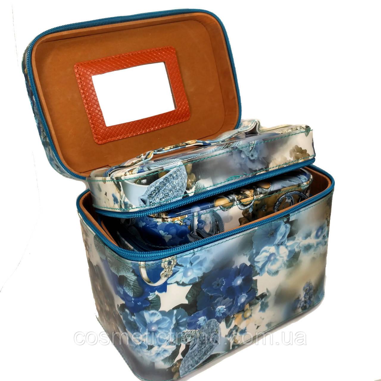 Шкатулка-бьютикейс для украшений и косметики с зеркалом Light blue/grey CR-110-MD (размер M 20*12,5*14 см)