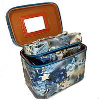 Шкатулка-бьютикейс для украшений и косметики с зеркалом Light blue/grey CR-110-MD (размер M)