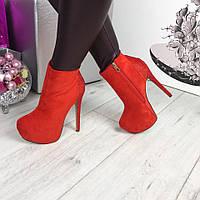 Женские  ботинки на каблуке 14 см, зимние, замшевые, красные / ботинки женские, эко замша, модные