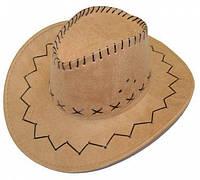 Шляпа ковбоя замшевая детская (светло-бежевая) 171216-002