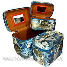 Шкатулка-бьютикейс для украшений и косметики с зеркалом Light blue/grey CR-110-MD (размер S 20*12,5*14 см)