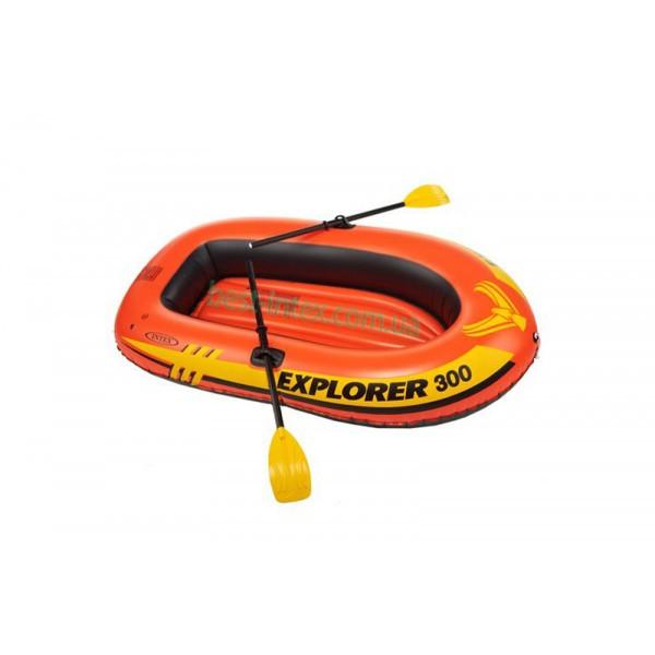 Надувная лодка гребная трехместная Intex 58332 (211x117x41 см.) + Весла, насос. Explorer 300