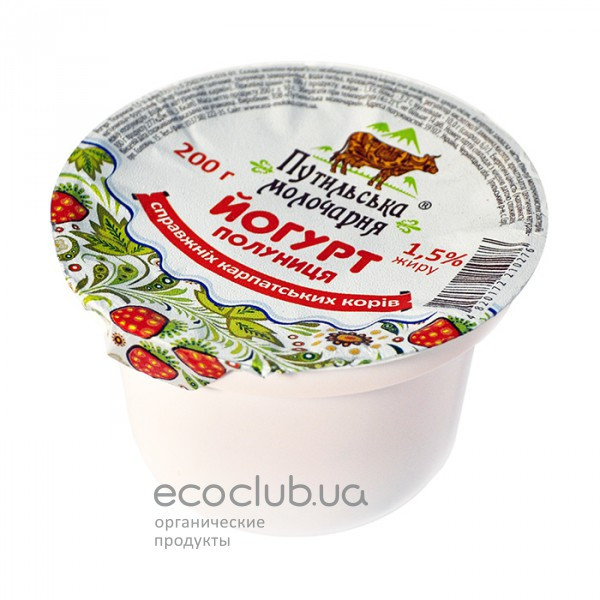 Йогурт Клубника Путильская молочарня 1,5% 200г