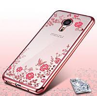 Чехол со стразами для Meizu M3 Розовый