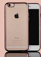 Чехол силиконовый прозрачный на Apple iPhone 5 розовый