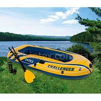 Надувная лодка гребная двухместная Intex 68367 (236х114x41 см.) Challenger 2 Set, фото 1