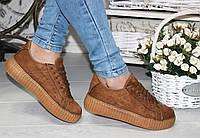 Женские кроссовки криперы рыжие Puma Rihanna Suede Creepers / Криперы Пума низкие кроссовки женские