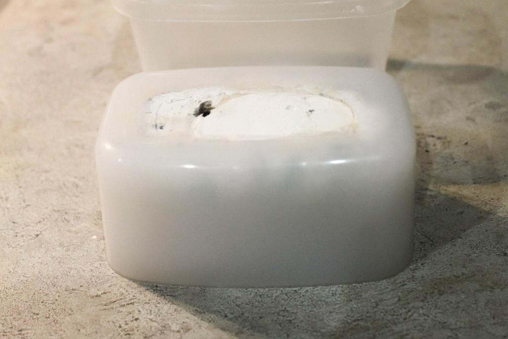 Пробуем, чтобы пальцы не прилипали к силикону, выдерживаем для полного набора прочности форму 24 - 72 ч. и затем достаем заготовку из контейнера
