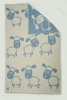 Одеяло шерстяное 100Х140 БАРАШКИ голубое
