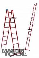 Mastertool Лестница универсальная металлическая 8 ступеней со столиком, 2150-4740 мм, Арт.: 79-1018