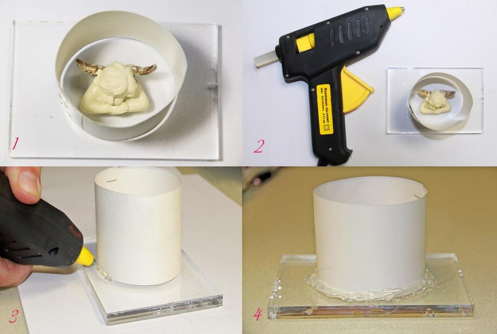Ставим опалубку, подходящую по размеру и термоклеем хорошо изолируем ее от подтекания