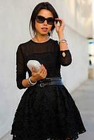 Женское платье, дорогой гипюр с подкладом + фатин, верх сетка, р-р 42-44; 44-46 (электрик)