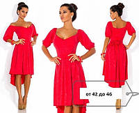 Платье Коктейльное ассиметрия хвост красное