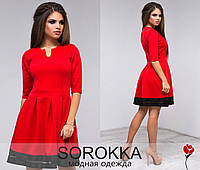 Стильное красное платье с сеткой и черными полосками по низу. Арт-9456/77