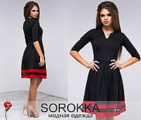Стильное черное  платье с сеткой и красными  полосками по низу. Арт-9456/77