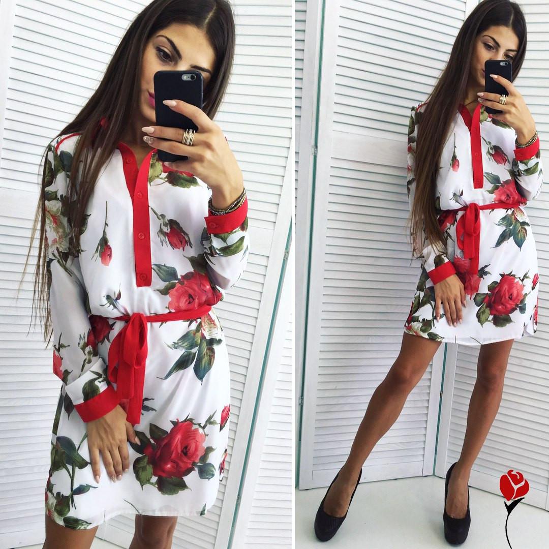 9f10b3dca81 Белое шифоновое платье с красными розами. Арт-9457 77  продажа