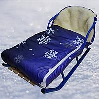 Конверт меховой Снежинка в санки, коляску (сиреневый)