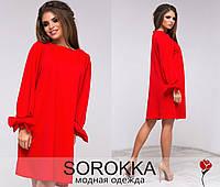 Стильное  красное  платье с бантом на рукавах. Арт-9458/77