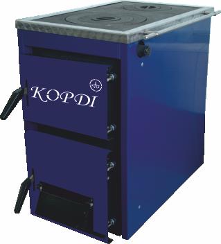 Твердотопливные котлы Корди АКТВ 10-16 кВт с плитой (сталь 4 мм)