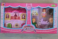 Домик для кукол с детской мебелью, фигурками в коробке 38-20-6 см