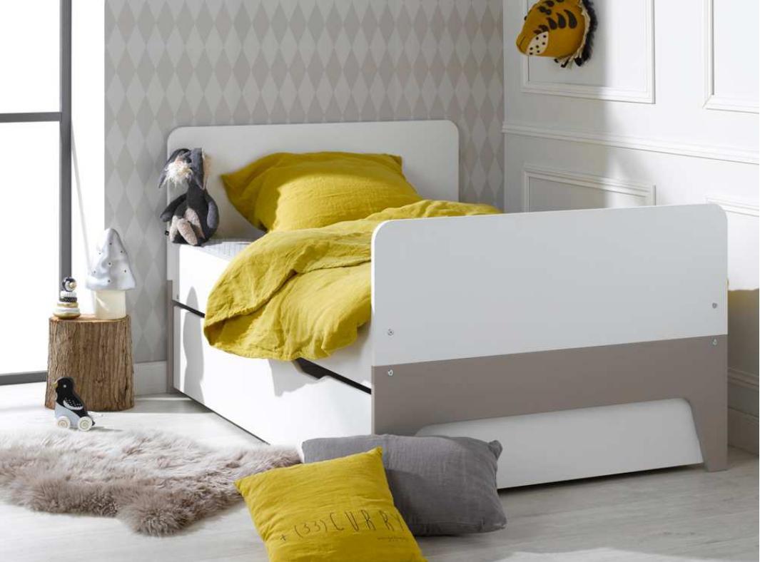 Кровать для подростка Junior Provence Lit Evolutif CITY blanc/Lin