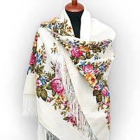 """Платок шерстяной с просновками и шелковой бахромой """"Весеннее цветение"""", фото 1"""