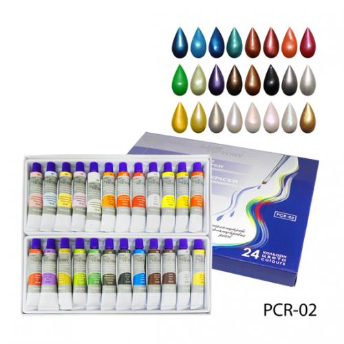 Перламутровые художественные акриловые краски. PCR-02_LeD 24 color