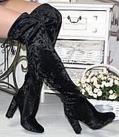 Ботфорты бархат велюр черные реплика Стюарт Вейтман  каблук 10 см