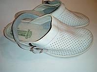 Туфли сабо кожаные белые р. 37