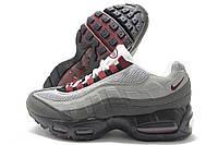 Кроссовки мужские Nike Air Max 95 серые с бордовым (найк эир макс)